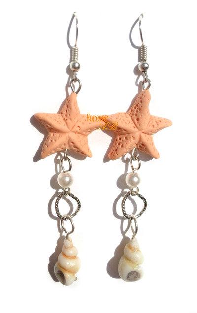 Orecchini lunghi mare con stelle marine e conchiglie ragazza donna fimo