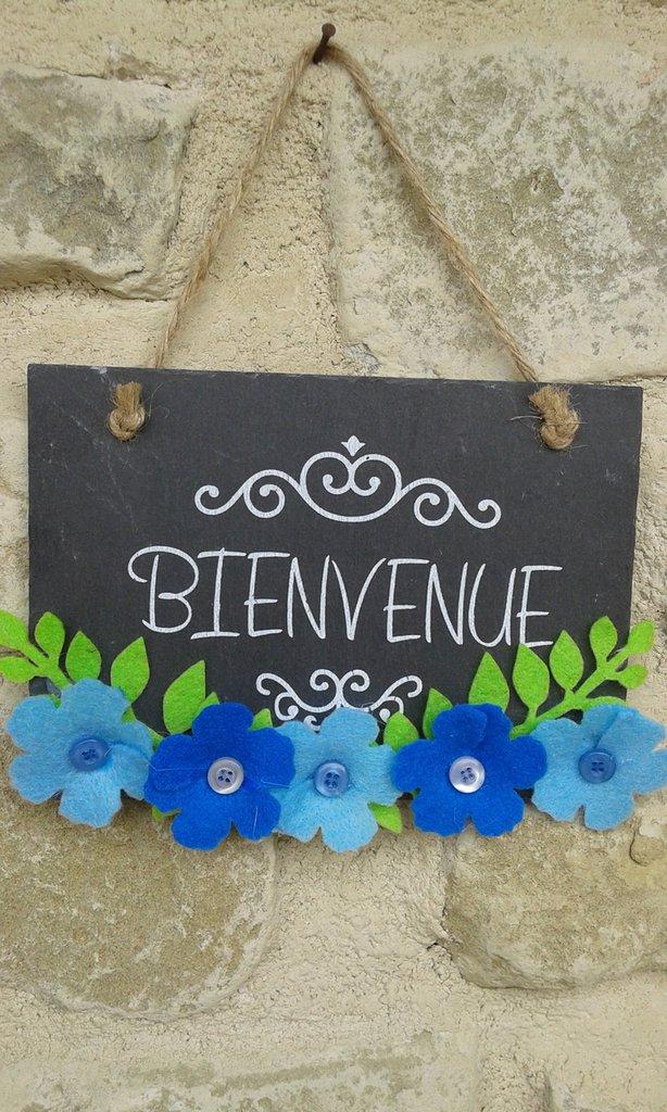 """Targhetta """"bienvenue"""" blu"""