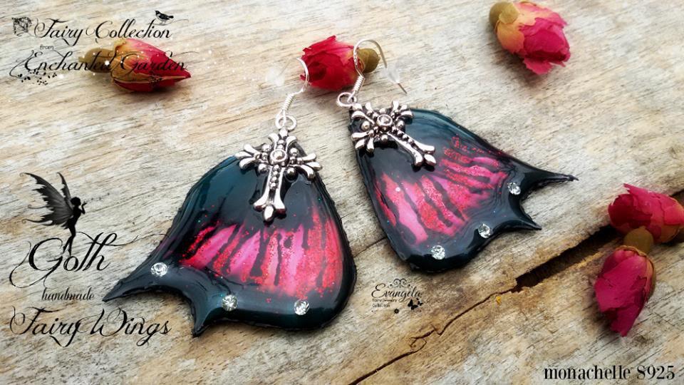 Orecchini ali fata gotica resina gothic strass nero rosso monachelle a925