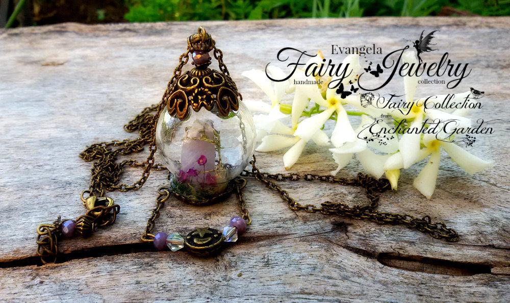 Collana miniatura mondo incantato ametista fiori e licheni naturali