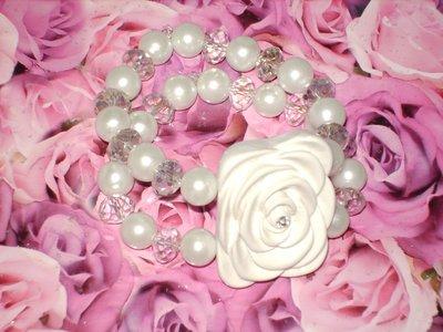 bracciale rosa bianca