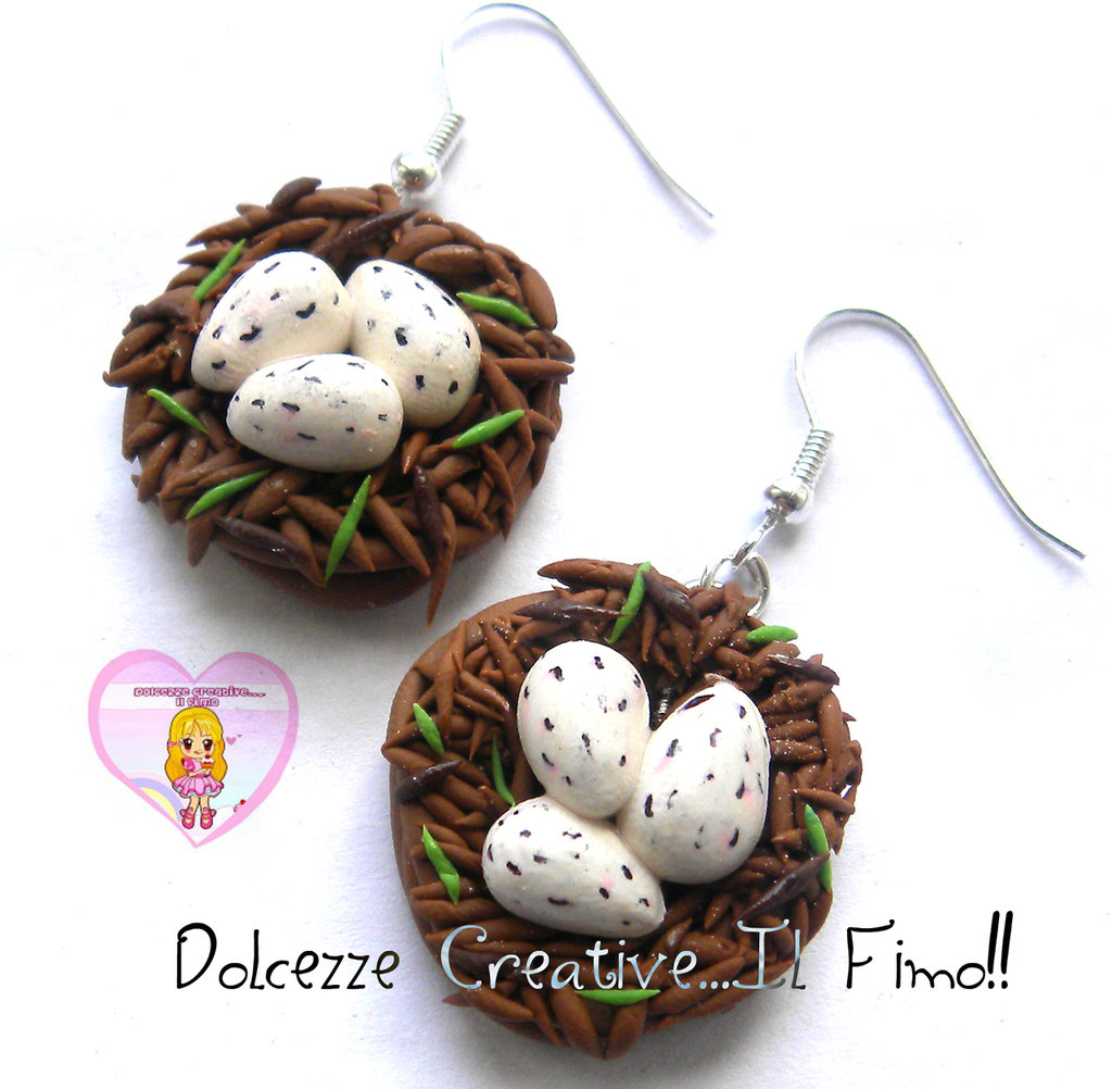 Orecchini Con nido e uova - uccello - idea regalo kawaii handmade fimo