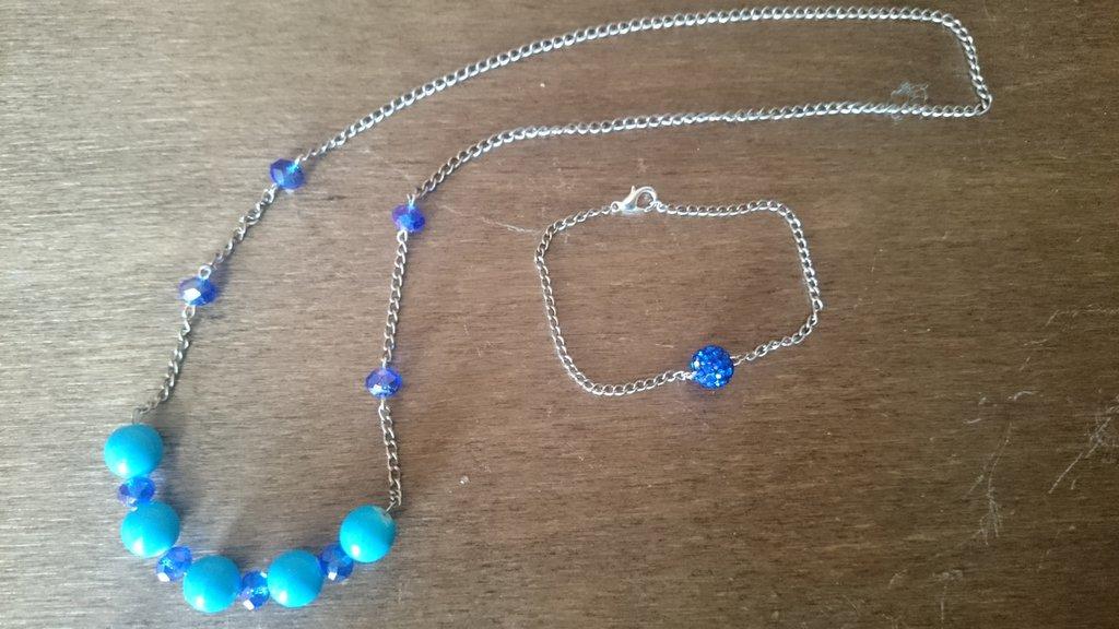 """Collana e braccialetto """"blue marine"""""""