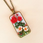 """Collana con cammeo rettangolare """"Il giardino segreto delle rose"""""""