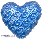 Cuore azzurro metallizzato