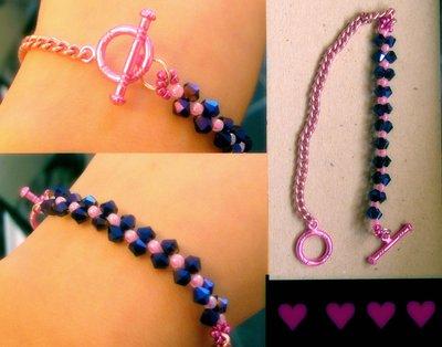 bracciale con perline viola e catenella rosa