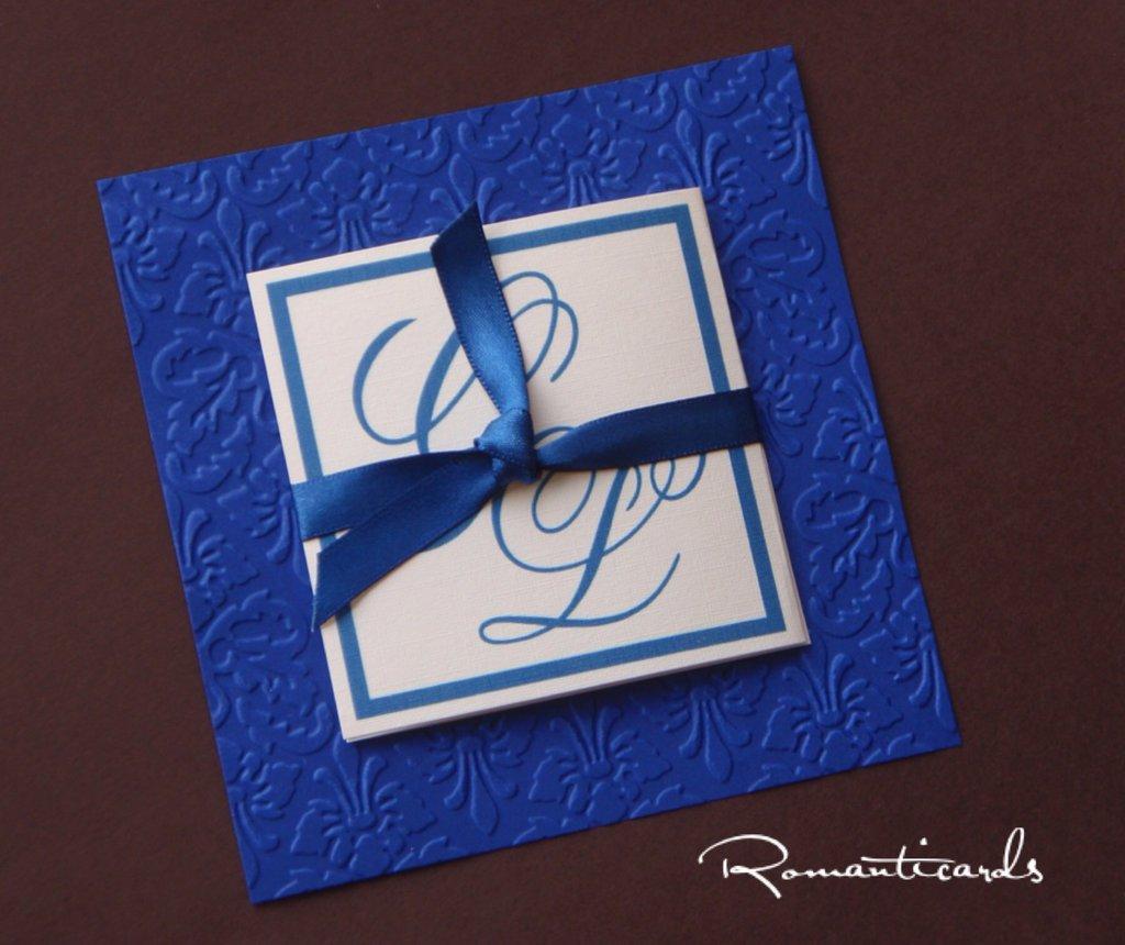 Partecipazione di Matrimonio in Rilievo tono blue by Romanticards
