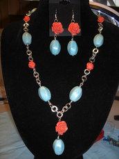 """Parure """"Primavera"""" con rose in resina e pietre turchese"""