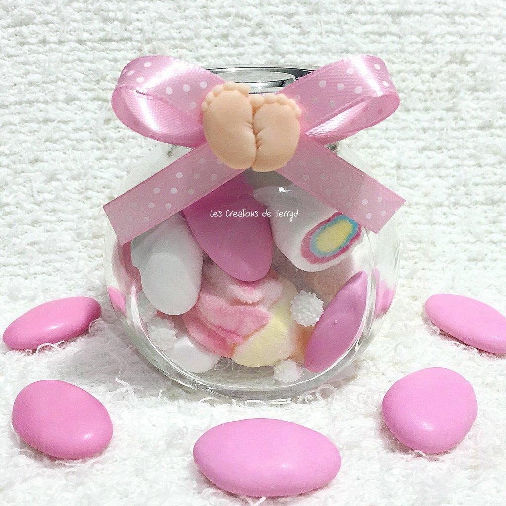 Bomboniera barattolo rosa con piedini