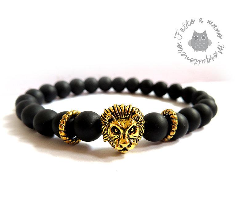 Bracciale Testa di Leone Oro e Agata opaca nera pietra stone braccialetto Uomo