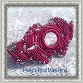 Braccialetto macramè con perline