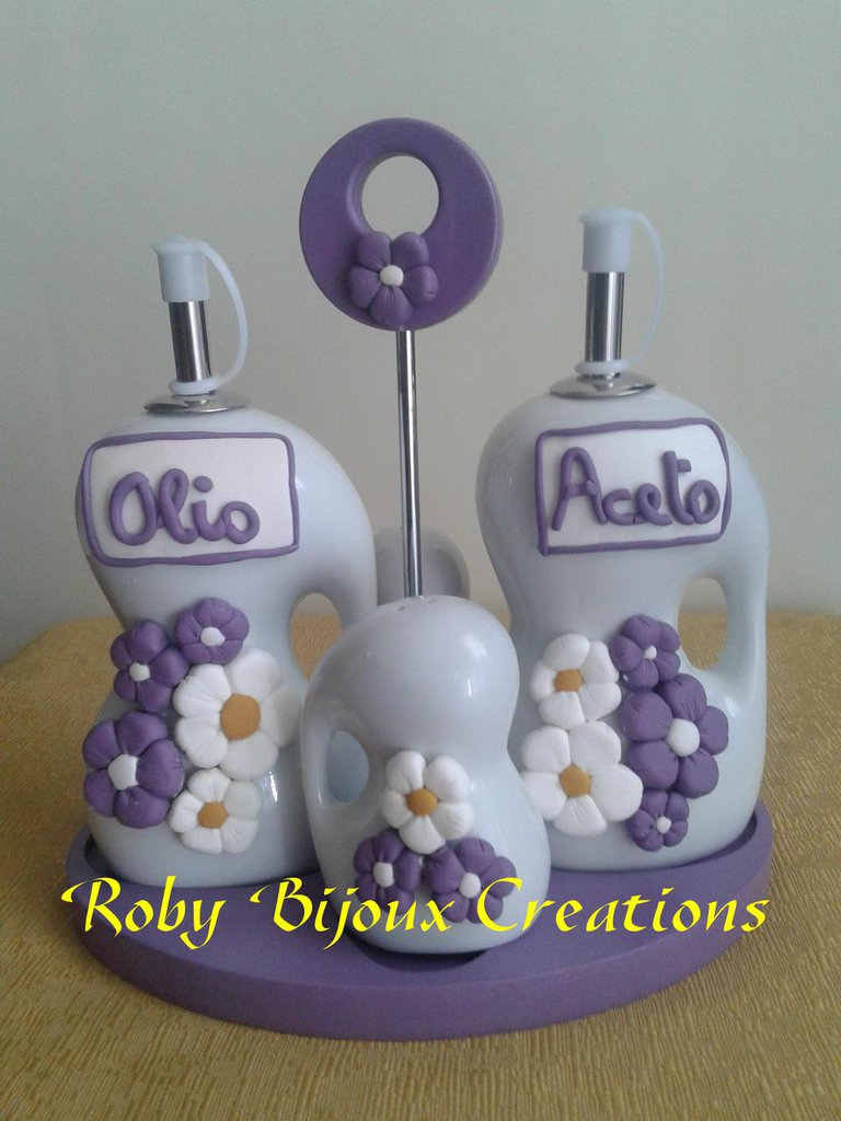 Set olio aceto decorato a mano in fimo