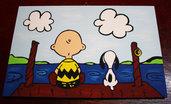 Snoopy & Charlie - Molo (Quadro fatto a mano)