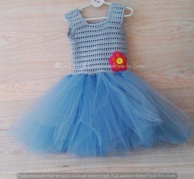 Abito neonata azzurro  ad  uncinetto e tulle   abito tutù