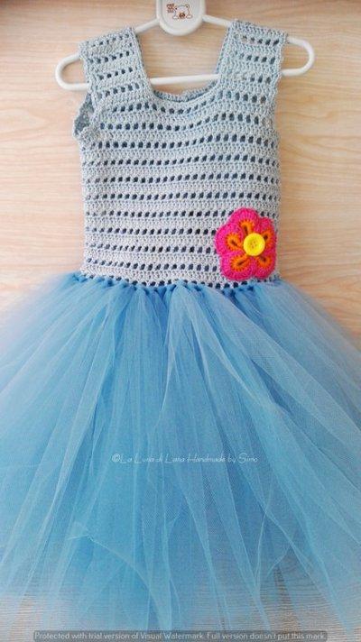 Abito neonata azzurro ad uncinetto e tulle abito tutù - Bambin ... 8035c8e25b9