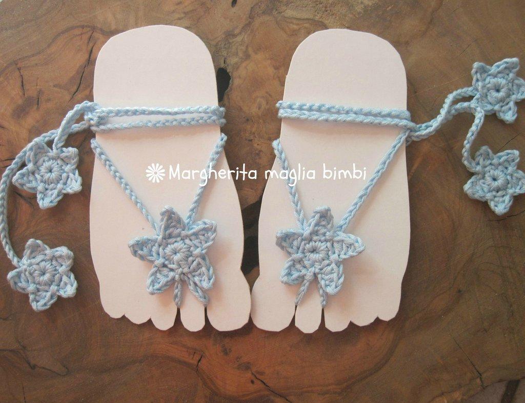 Sandali piedi nudi baby - stellina all'uncinetto - decorazione piede bambino - idea regalo!