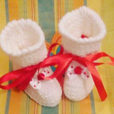 Scarpette neonato bianche e rosse