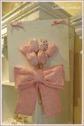Fiocco nascita tulipani rosa