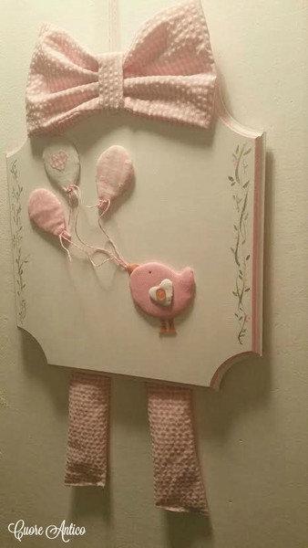 Fiocco nascita rosa uccellino