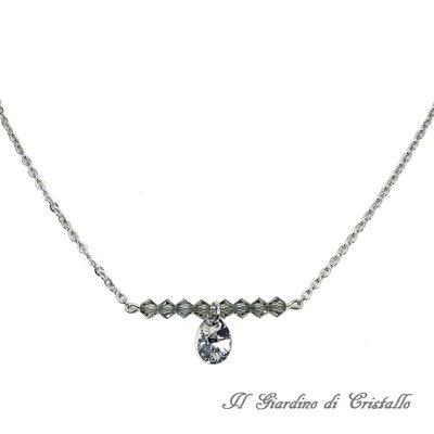Collana in acciaio minimal chic goccia e cristalli Swarovski grigio argento fatta a mano - Angelica