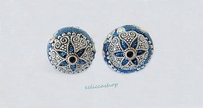 Perlina in ottone colore argento con strass,. Blu  20 mm 1 PZ