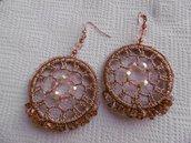 orecchini cerchio oro rosa e cristalli