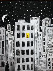 Città notturna - Riproduzione fatta a mano