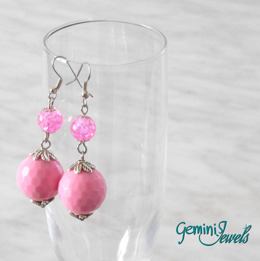 Orecchini con perle tonde sfaccettate, vari colori
