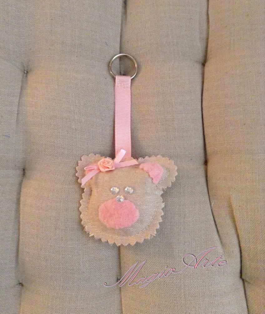 Portachiavi Orsetta rosa/Bomboniera/Idea regalo