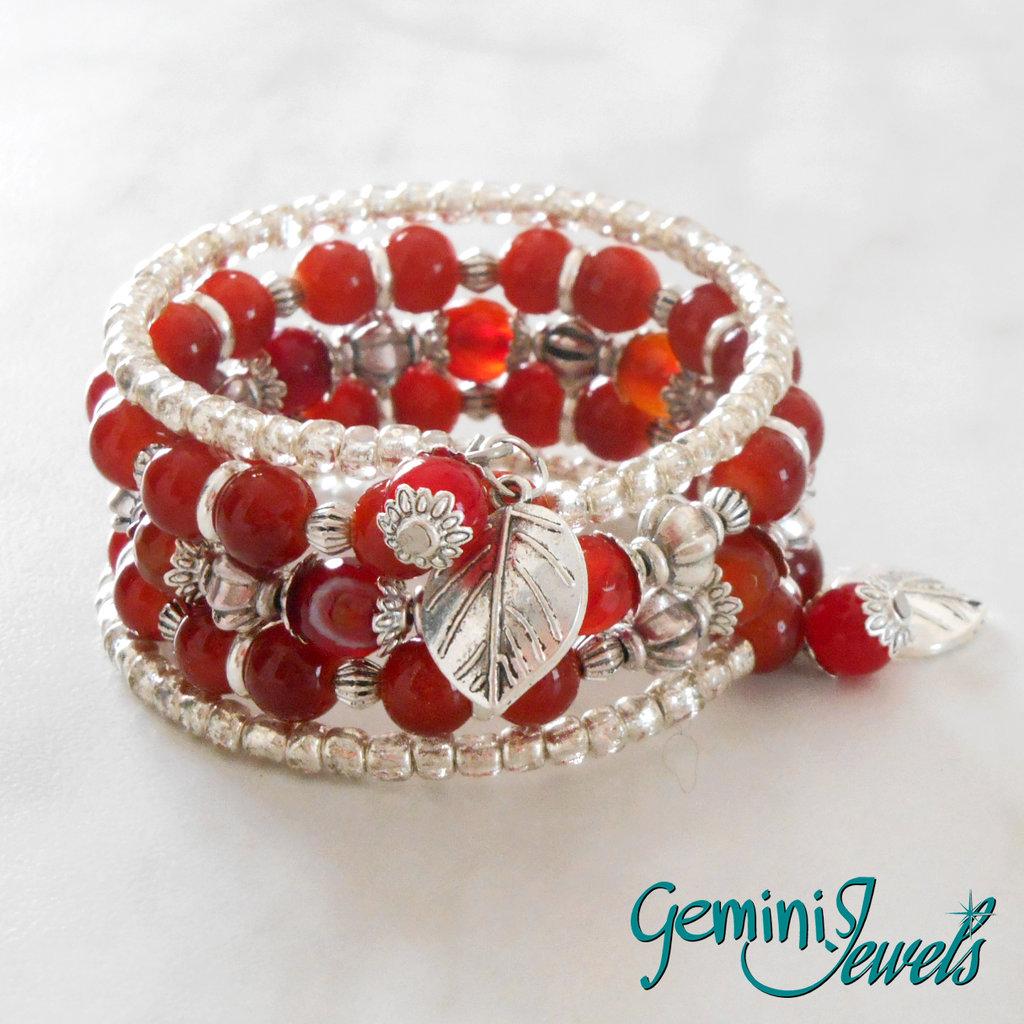 Bracciale rigido armonico rosso e argento