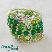 Bracciale rigido armonico multifile verde