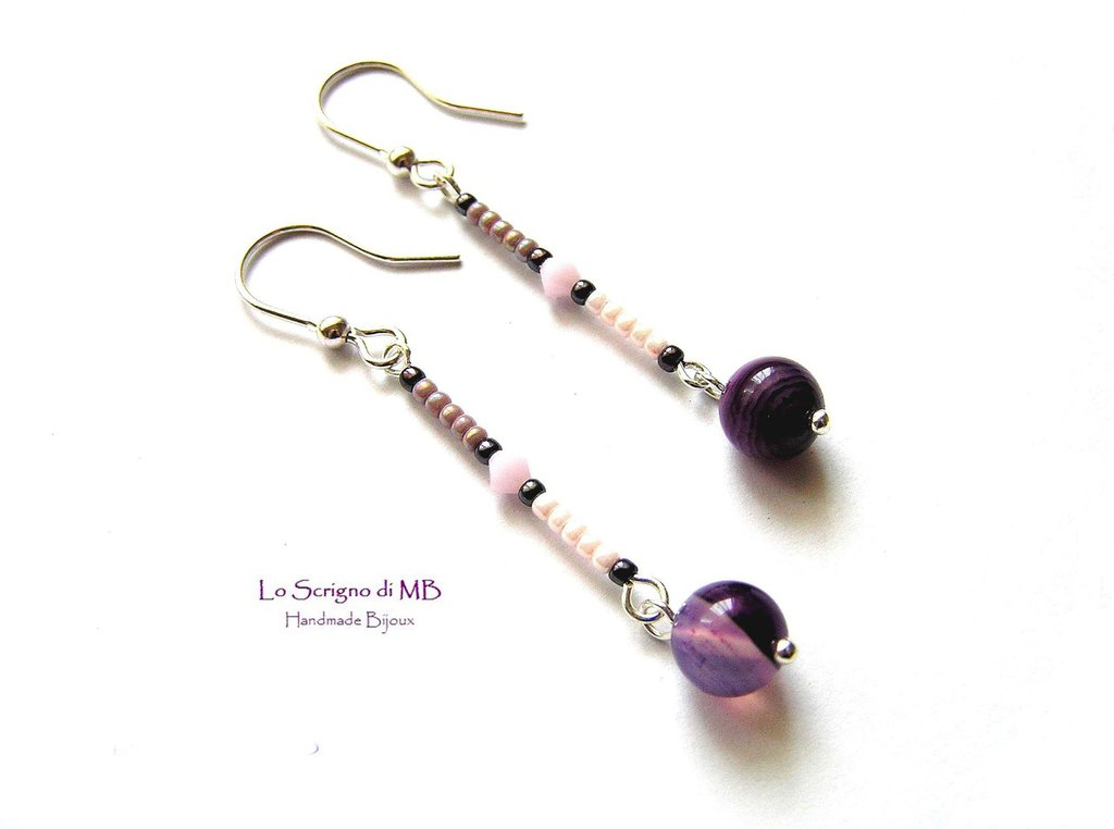 Orecchini perla agata viola striata
