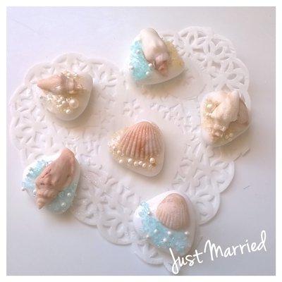 confetti decorati tema mare, segnaposto matrimonio, conchiglie, corallo