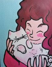 Amo il mio gatto - Quadro fatto a mano