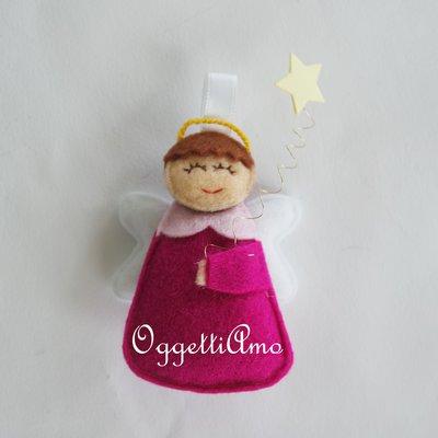 Angioletti in feltro fatti a mano: graziose bomboniere per il battesimo, la comunione, la cresima dell vostra bambina
