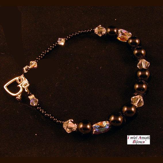 Bracciale perle di vetro e Swarovski crystal AB