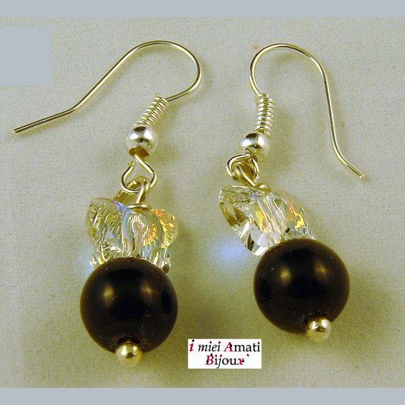 Orecchini perle di vetro e swarovski