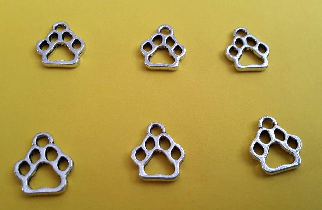 6 charm ciondoli 'zampe cane' argento tibetano