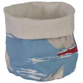 Sacchetto portapane o portaoggetti in cotone azzurro e vele