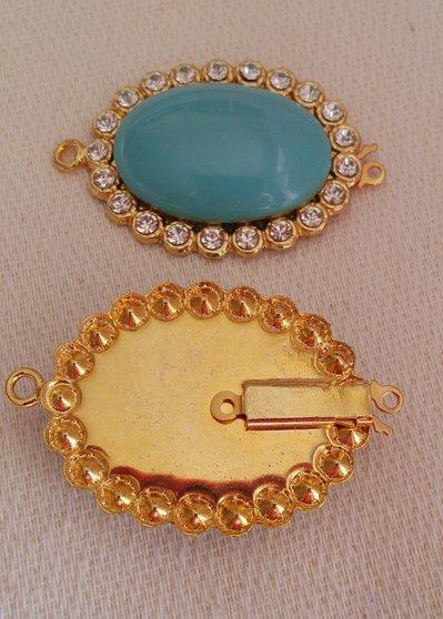 chiusura fermaglio per collana, bracciale, in metallo dorato ,cabochon e strass