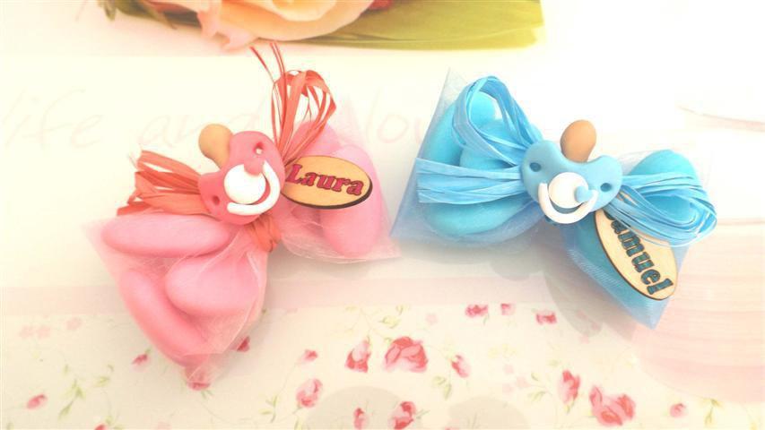 OFFERTA PROMOZIONALE FIMO - BOMBONIERE COMPLETE - CIUCCIO  - con sacchettino confetti e in OMAGGIO targa con nome