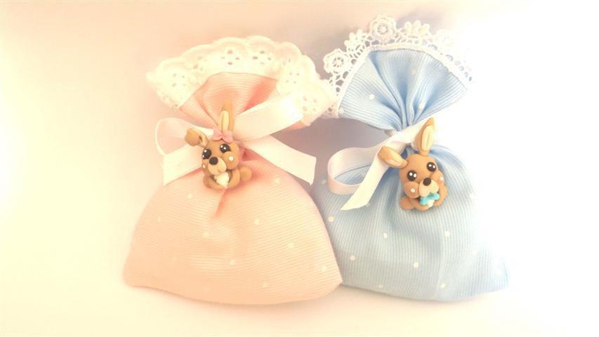 BOMBONIERA COMPLETA sacchetto porta confetti con PIZZO SANGALLO - battesimo nascita fimo - CONIGLIETTI con fiocchetto - ciondoli