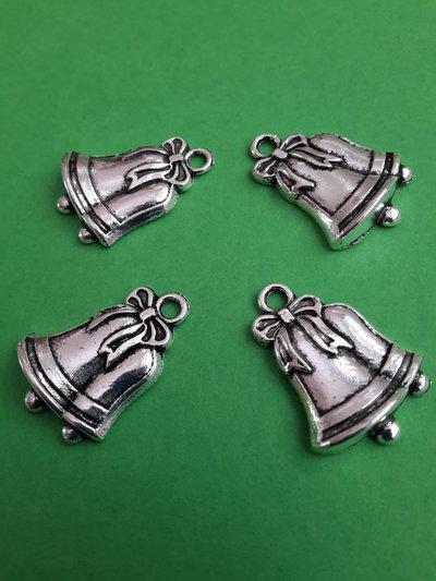 4 charms ciondoli 'Campane natalizie' argento tibetano
