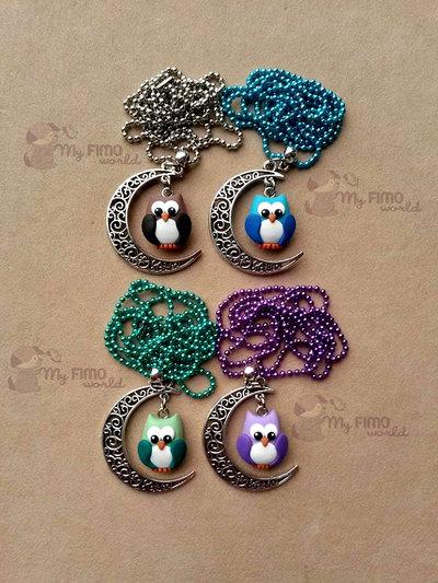 Collana con luna e gufetto penzolante + braccialetto con 5 gufetti colorati fimo