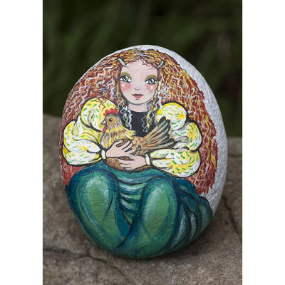 Dipinto su pietra - BAMBINA CON GALLINA - Opera d'arte - Idea regalo - COLLEZIONISMO