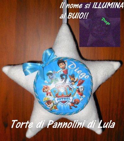 Cuscino stella + nome che si ILLUMINA al BUIO, Masha disegno personalizzabile decorazione fuoriporta bimbo a bordo