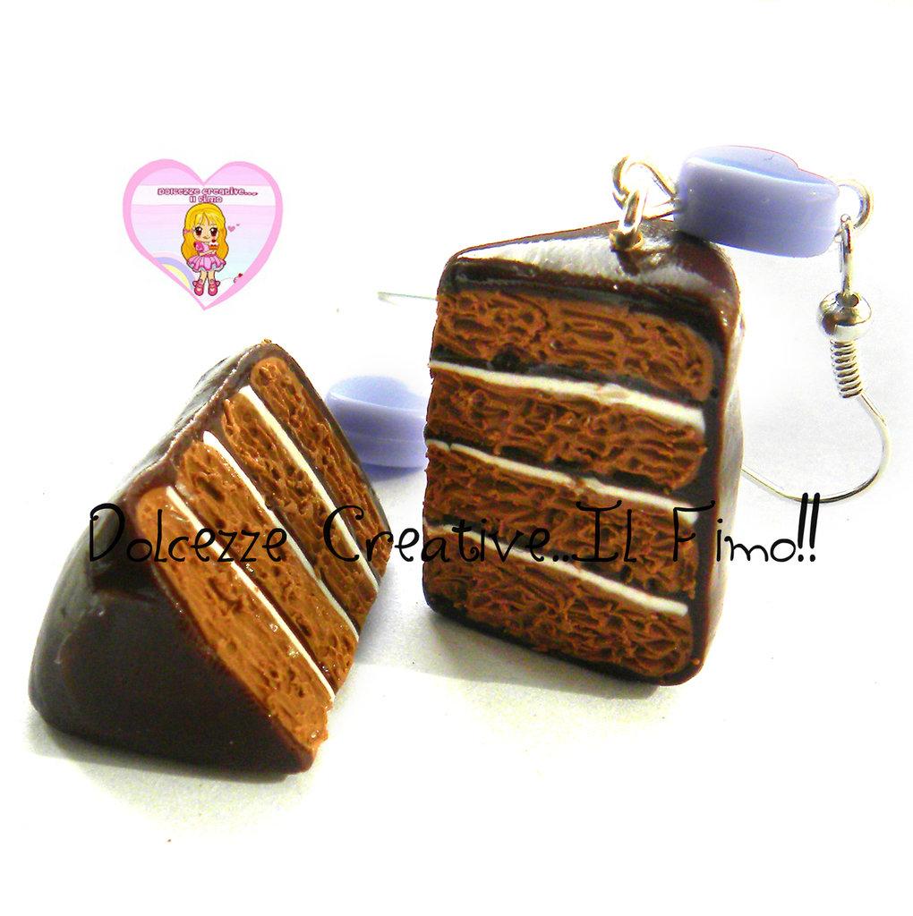 Orecchini Fette di torta al cioccolato con strati di vaniglia - kawaii handmade idea regalo