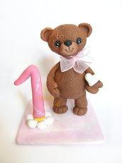 Cake topper primo compleanno con orsetto -pasta di mais bambina bimba