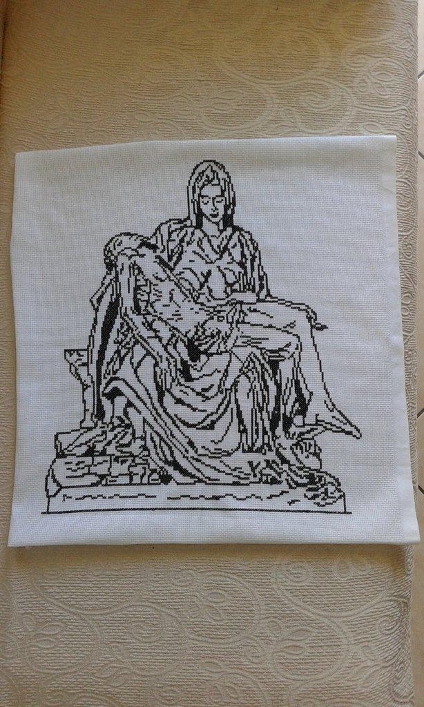 "Ricamo ""Pietà vaticana"" a punto croce"