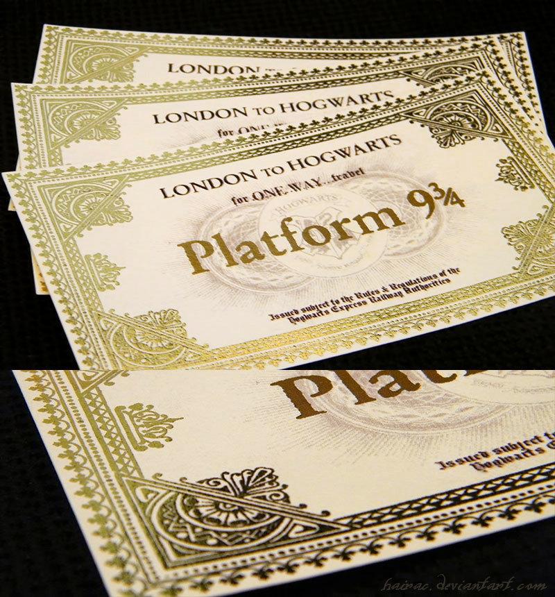 Biglietto per l'Hogwarts Express replica dal film con bordi dorati